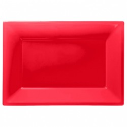 Red Plastic Serving Platters 3pc