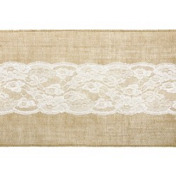 Burlap Table Runner with lace 2,75m
