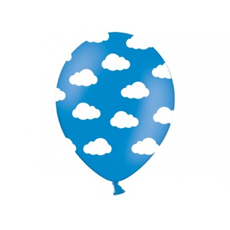 White clouds in blue balloons 5pc