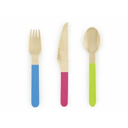 Mixed Colours Wooden Cutlery 18pc
