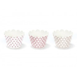 Set Cupcake Wrapper Rosa a Pois