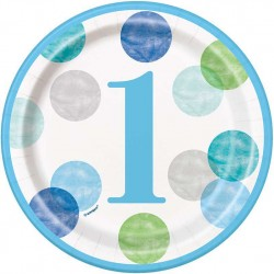 Blue Dots Boy's 1st Birthday Plates
