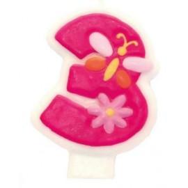 Candela Numerale Rosa 3