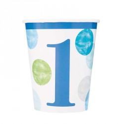 Bicchieri Primo Compleanno Blue Dots