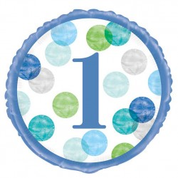 Blue Dots 1st Birthday Foil Balloon