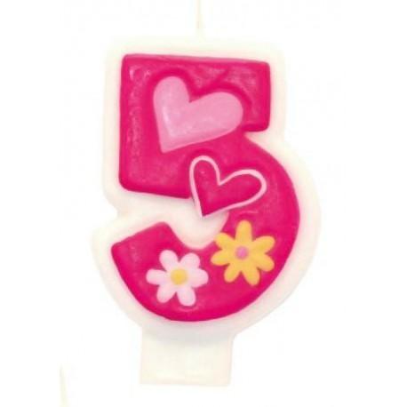 Candela Numerale Rosa 5