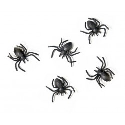 Set of 10 black plastic Spiders