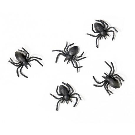Set of 10 black plastic Spiders