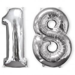 Set Palloncini 18 anni foil Argento Mid Size