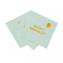 Happy Birthday Mint Green Foil Napkins