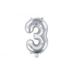 Number 3 Silver Foil Balloon