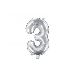 Palloncino foil numero 3 colore argento