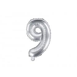 Palloncino foil numero 9 colore argento