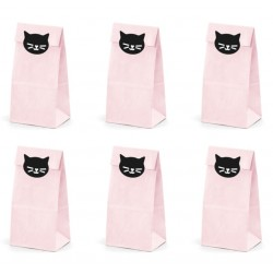 Pink Treat Bags with Kitten Stickers