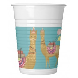 Llama party plastic cups