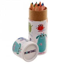 Tubo con matite colorate per regalini fine festa tema Mostriciattoli