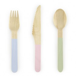 Pastel Colors Wooden Cutlery 18pc
