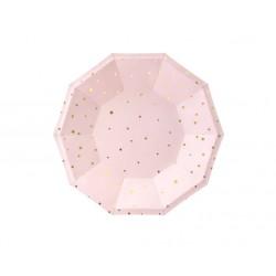 Piattini in carta rosa a stelline oro