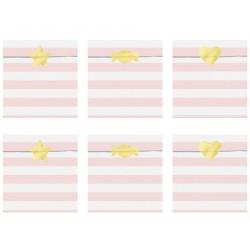 Bustine a righe Rosa con stickers oro foil
