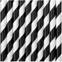 Black Striped Paper Straws 250pc