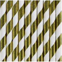 Gold Foil Striped Paper Straws