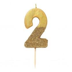 Candelina Numerale Oro con Glitter 2