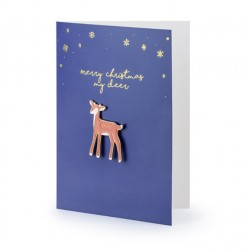 Christmas card with Reindeer Pin