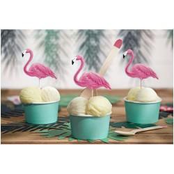 Flamingos Toppers Set 6 pc