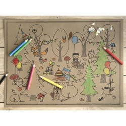 Woodland Colouring Placemates and Pastels Set