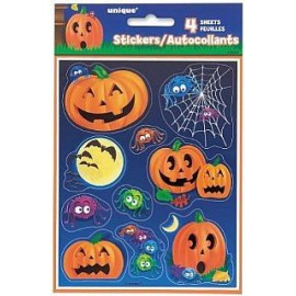 Adesivi Halloween zucche e ragni 4pz