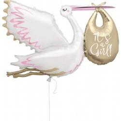 "Stork ""It's a Girl"" SuperShape Foil Balloon"