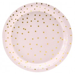Light Pink and Golden Dots Plates