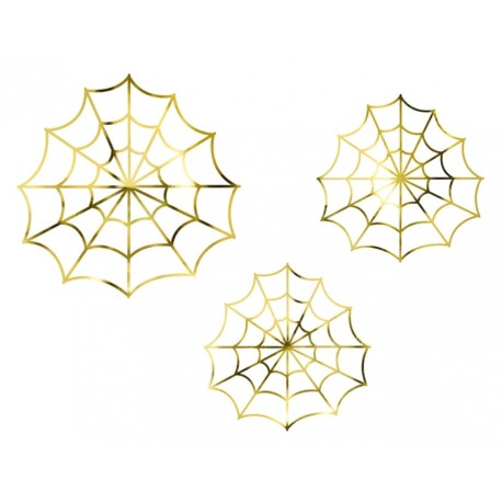 Set of 3 gold foil spiderweb for Halloween party decoration