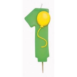Candela Numerale Palloncino 1 Verde