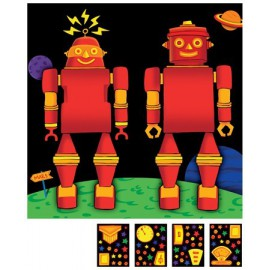 Robot Party Scene with Stickers