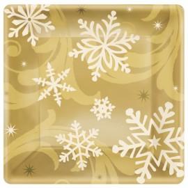 Golden Christmas Dessert Plates