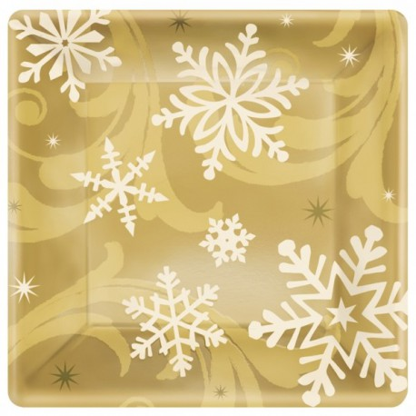 Golden Christmas Dessert Plates