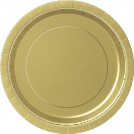 Golden Paper Dinner Plates 8pc