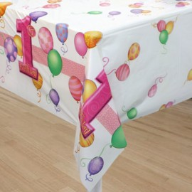 Pink Balloons Plastic Tablecover