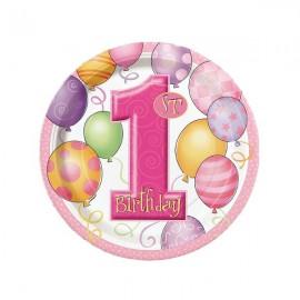 Pink Balloons Dessert Plates