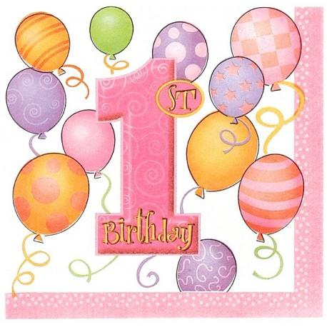 Favoloso Tovaglioli Palloncini Rosa - Festa Primo Compleanno Bimba CB82