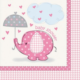 Umbrellaphants Pink Lunch Napkins