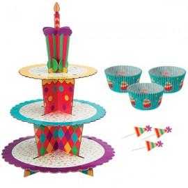 Kit Alzata e Pirottini per Cupcake Festa Compleanno