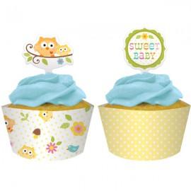 Cupcake Wrapers con Decorazione Civetta