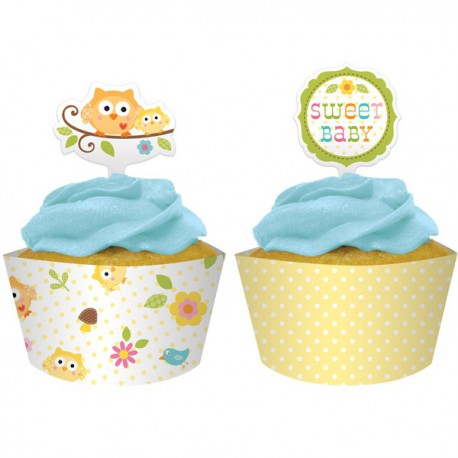 Cupcake Wrapers con Decorazione Civetta