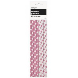 Hot Pink Dots Paper Straws