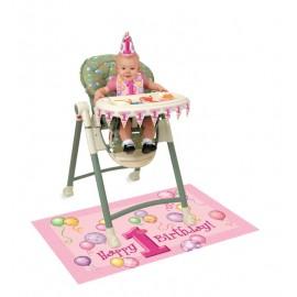 First Birthday Pink High Chair Kit
