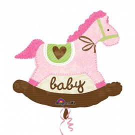 Pink Rocking Horse SuperShape Foil Balloon