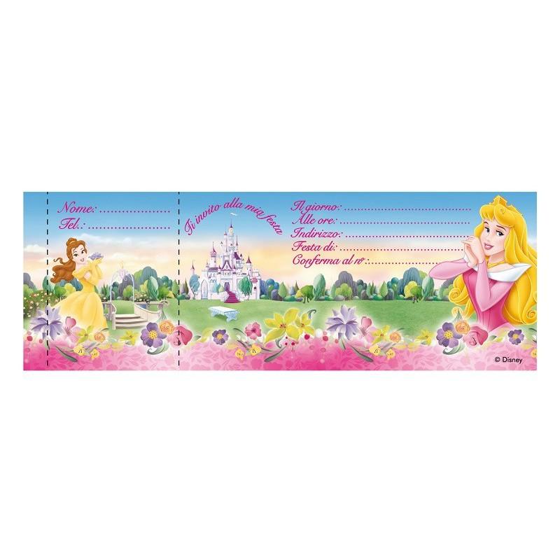 Estremamente Biglietti Invito Principesse Disney - Festa Compleanno Bambina NG81