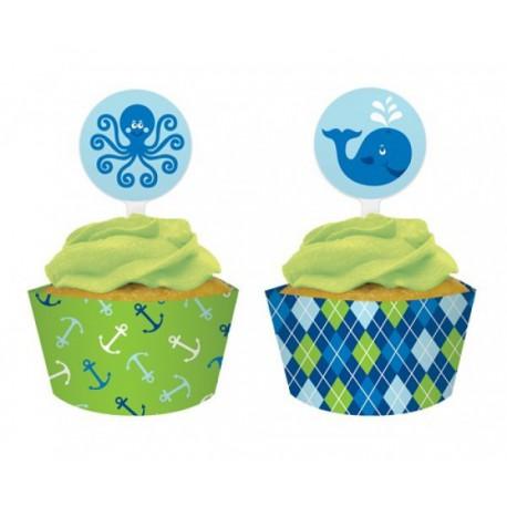 Ocean Preppy Boy Cupcakes decoration set